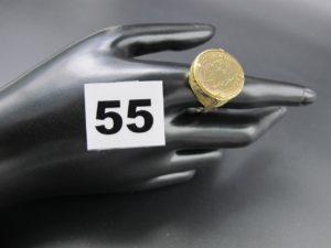 1 bague avec motif ouvragé sur monture filigranée (TD 61cm) PB 5,8g