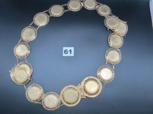 1 ceinture en or à motif du buste de l' empereur NAP III(L 114cm). PB 75,2g