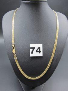 1 collier en or maille anglaise ornée d'une petite pierre sur le fermoir. (L 46cm). PB 11,3g