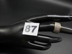 1 bague en or ornée d'un pavage de 4 lignes de petits diamants (TD 49) PB 9,6g
