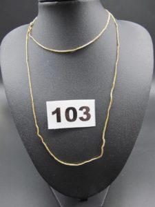 1 chaine en or maille tressée (L 66cm). PB 3,2g