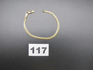 1 bracelet en or maille anglaise (L 18,5cm cassé). PB 4,6g