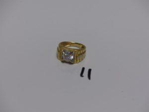 1 chevalière en or serti-griffes une pierre (td52). PB 7,9g