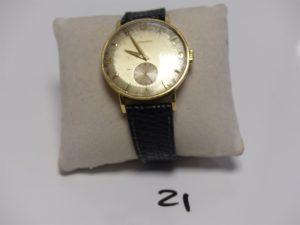 1 Montre Homme, boitier or de marque LONGINES (cadran abimé, bracelet cuir noir). PB 39,4g