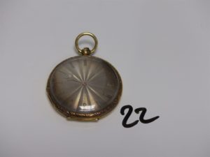 1 Montre de gousset boitier or cuvette or, cadran guilloché. PB 43,3g