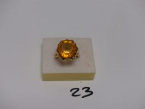 1 bague en or rehaussée d'une pierre jaune (td56). PB 8,5g