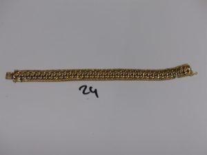 1 bracelet gourmette maille festonnée (très abimé, L18cm). PB 23,3g