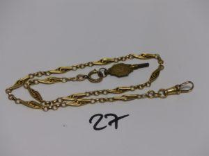 1 giletière en or (L40cm, fermoir en métal). PB 18,4g + clef en métal