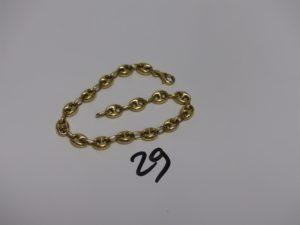 1 bracelet maille grain de café en or (L18cm). PB 6,4g