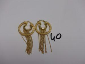1 Paire de créoles en or rehaussées de petites boules en pampille. PB 7g