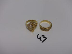 2 bagues en or ornées de pierres blanches (td55 et 57). PB 7,2g