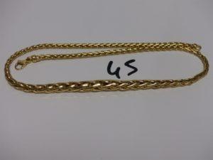 1 collier maille palmier en or (L41cm). PB 14,8g