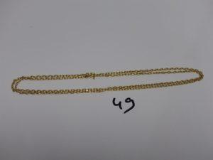 1 chaîne maille forçat en or (L70cm). PB 11,6g