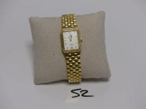 1 Montre dame en or de marque FESTINA, lunette ornée de 2 rangs de petits diamants (L18cm, ref F324-8369). PB 50,8g