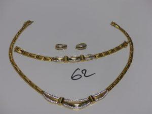 1 ensemble en or motif central orné de petites pierres (collier L43cm, bracelet L18,5cm et 1 paire boucles). PB 61,6g
