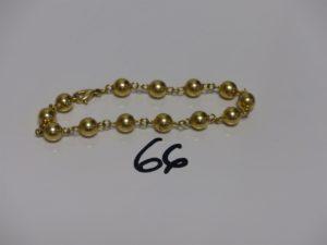 1 bracelet boules en or (L19cm). PB 10g