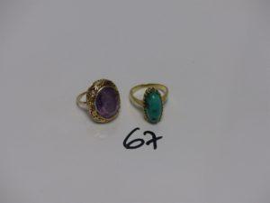 2 bagues monture en alliage 14K (1 ornée d'une pierre violette td49 et 1 serti-griffes une pierre turquoise manque griffes, td56). PB 12,3g