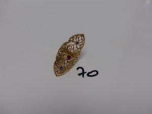 1 bague marquise en or rehaussée de 3 petites pierres (monture réparée un peu abimée, td54). PB 4,5g