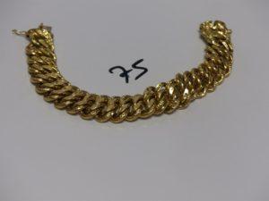 1 bracelet mlle américaine en or (cabossé, L18cm). PB 28,3g