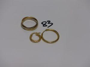 1 alliance 3 brins 3 ors (td66), 1 créole cabossée en or et 1 petite créole ciselée en or. PB 7,8g