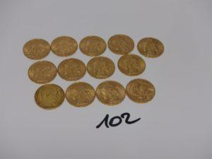 13 pièces de 20frs en or PB 83,8g