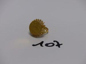 1 bague en or 22K motif central ouvragé (td50). PB 5,8g