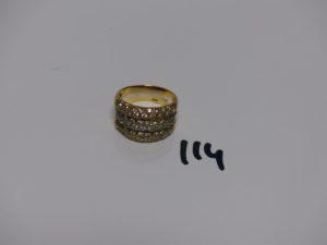 1 bague 3 rangs 3ors et ornée de pierres (td56). PB 8,3g