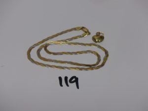 1 chaîne maille tressée 3 ors (abimée, L41cm) et 1 petit pendentif coeur en or. PB 7,4g