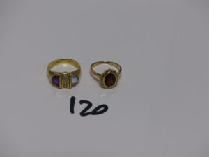 2 bagues en or (1 ornée d'une pierre grenat td49 et 1 ornée de pierres violette , bleue et blanches td50). PB 7,7g