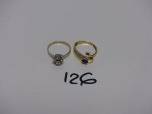 2 bagues en or (1 monture bicolore ornée d'un epierre bleue td56 et 1 ornée de petits diamants td55). PB 5,5g