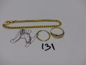 1 bracelet maille palmier (L18cm), 1 chaîne fine maille carrée (L40cm), 1 créole et 1 chevalière gravée (td55). Le tout en or 7,8g