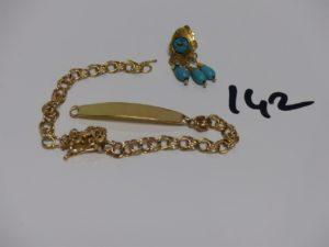 1 bracelet cassé en or et 1 boucle en or et ornée de perles turquoises. PB 11,2g