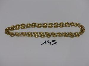 1 collier maille grain de café enor (fermoir à restaurer, L71cm). PB 37g