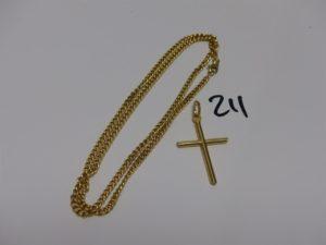 1 chaîne maille gourmette (L53cm) et 1 croix (H4cm). Le tout en or PB 21,5g