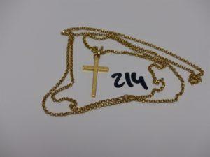 1 chaîne maille jaseron en or (sans fermoir) et sa croix (L68cm). PB 9,9g