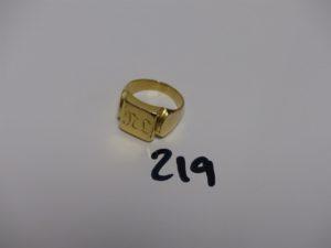 1 chevalière gravée en or (td49). PB 9,6g