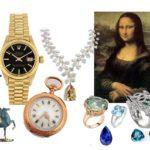 Ensemble d'objets de valeur (montres, tableau, bijoux) afin d'être expertiser par un commissaire priseur