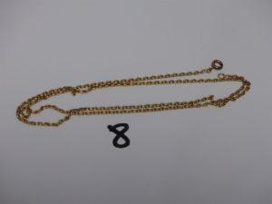 1 chaîne maille forçat en or (L23cm, fermoir cassé). PB 7,8g