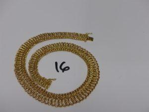 1 collier maille tressée en or (L43cm). PB 29grs