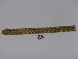 1 bracelet maille festonnée et maille gourmette en or (L20cm). PB 28,4grs