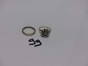1 bague (Td58) et 1 alliance (Td56) en or ornées de petits diamants. PB 6,8grs