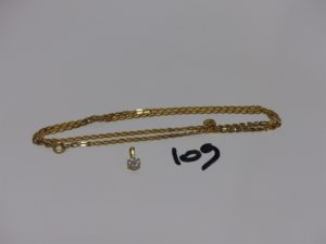 1 chaîne maille plate en or (L52cm) et 1 petit pendentif en or orné de diamant. PB 7,1grs