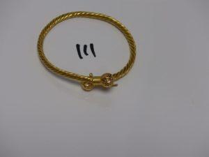 1 bracelet rigide ouvrant ouvragé en or 22K (diamètre 6,5cm). PB 24grs