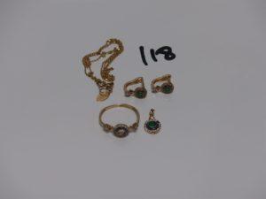 1 ensemble en alliage 14K et petites pierres composé d'1 chaîne (L42cm) 1 bague (chaton central vide, Td56) 1 petit pendentif et 1 paire de boucles. PB 5,7grs