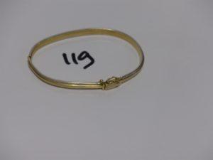 1 bracelet rigide bicolore ouvrant en or (à redresser, diamètre 7cm). PB 16,6grs