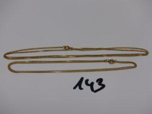 2 chaînes maille gourmette en or (L52 et 60cm). PB 9g