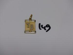 1 pendentif plaque en or bicolore gravé 'YB' (H3cm). PB 10,8g