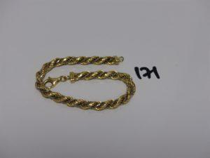 1 bracelet maille corde en or chaînette entrelacée (L21cm). PB 14,3grs