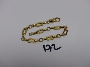 1 bracelet maille fantaisie en or (L20cm). PB 11,2grs