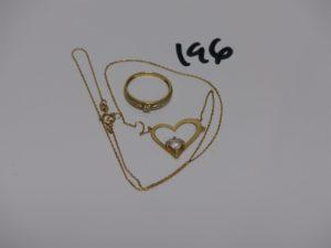 1 collier en or motif central à décor d'1 coeur orné d'1 pierre (L42cm) et 1 bague en or ornée d'1 petit diamant (Td52). PB 3,9grs